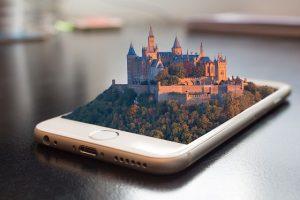 Mobile phone 3d model on screen